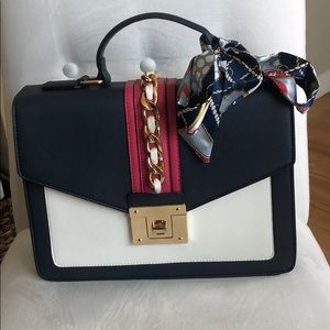 Gorgeous blue,white and pink handbag